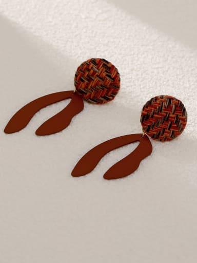 Coffee Brass Geometric Vintage Drop Earring