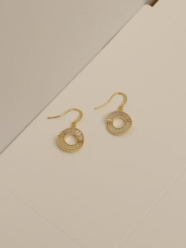 14k gold Brass Cubic Zirconia Geometric Minimalist Hook Earring
