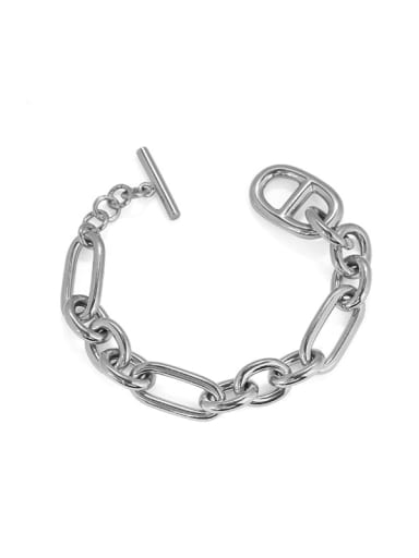 Platinum Brass Hollow Geometric Hip Hop Link Bracelet