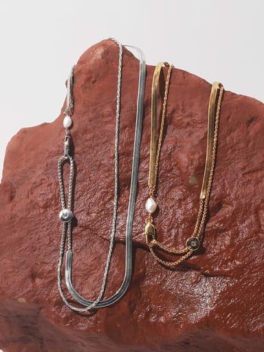 Brass Imitation Pearl Geometric Hip Hop Necklace