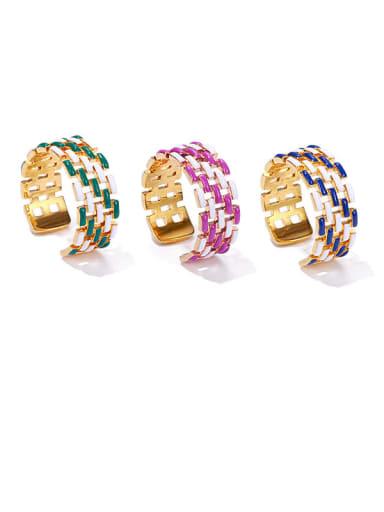 Brass Enamel Geometric Vintage Band Ring