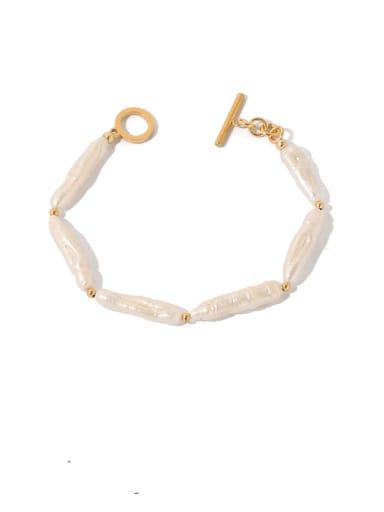 Brass Freshwater Pearl Geometric Vintage Bracelet