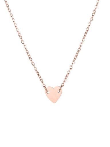 rose gold Color Stainless steel Love heart 7mm Necklace