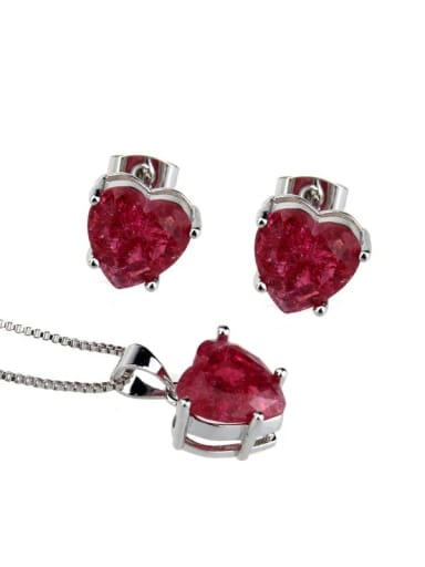 Platinum Plated Red explosive stone Brass Heart  Cubic Zirconia Earring and Necklace Set