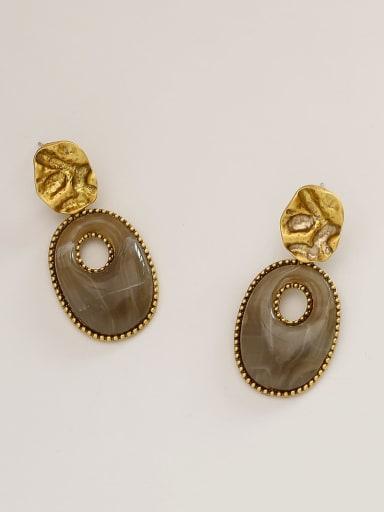 Yagujin light coffee Brass Resin Geometric Vintage Drop Earring