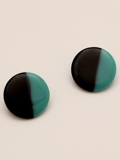 Cyan black Brass Acrylic Round Vintage Stud Earring