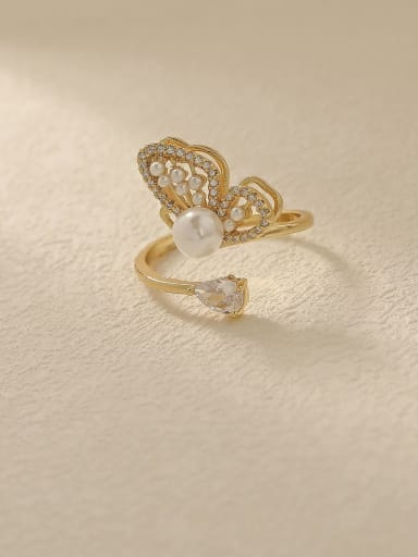 Brass Cubic Zirconia Butterfly Vintage Band Fashion Ring