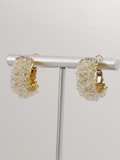 Brass Imitation Crystal Geometric Ethnic Stud Earring