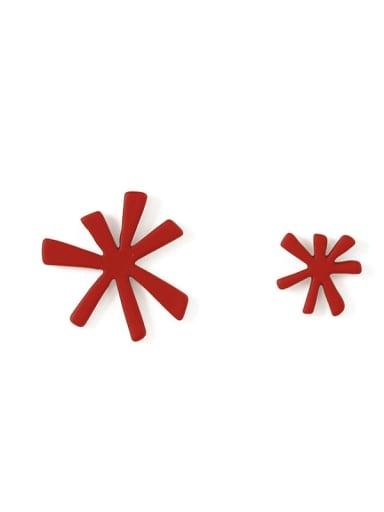 Alloy Enamel  Cute Asymmetric snowflake   Stud Earring