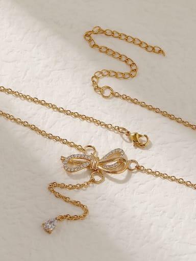 Brass Cubic Zirconia Bowknot Vintage Tassel Trend Korean Fashion Necklace