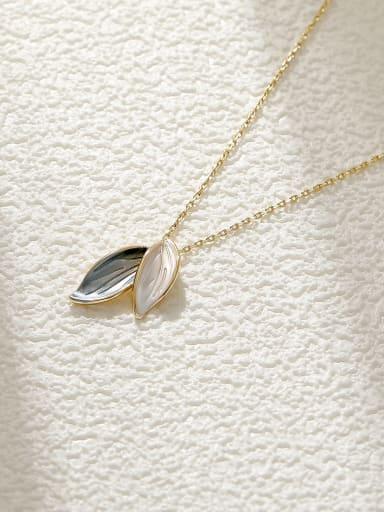 Brass Shell Tree Leaf Minimalist Necklace