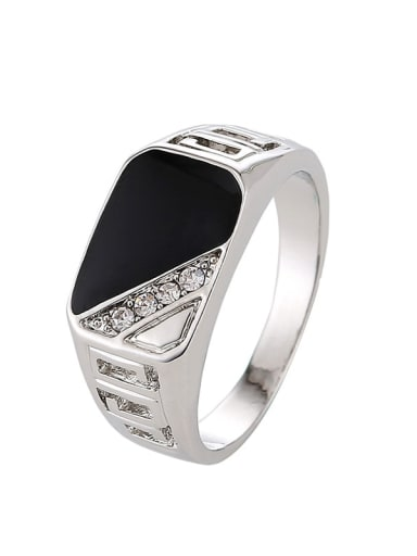 platinum Zinc Alloy Enamel Triangle Vintage Band Ring