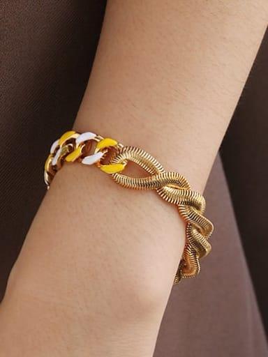 Yellow white drop oil Bracelet Brass Enamel Geometric Minimalist Link Bracelet