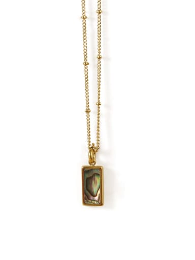 Abalone Shell Necklace Brass Shell Geometric Vintage penfant Necklace