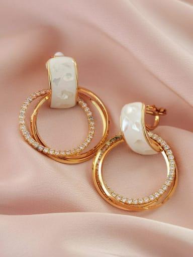Brass Shell Geometric Minimalist Clip Earring