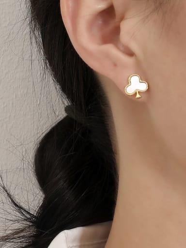 Brass Shell Clover Minimalist Stud Earring