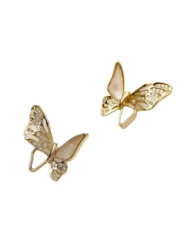 Brass Shell Butterfly Cute Stud Earring