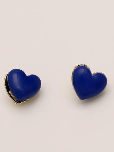 Turquoise blue Brass Enamel Heart Minimalist Stud Earring