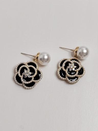 Brass Enamel Flower Vintage Drop Earring