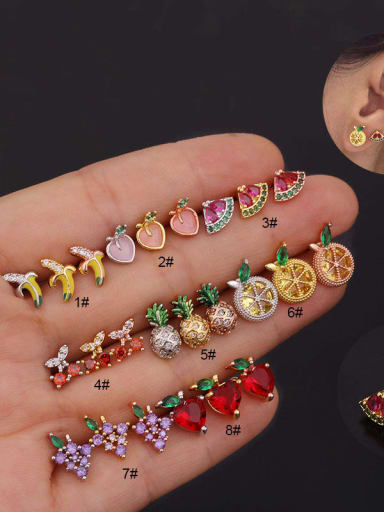 Brass with Cubic Zirconia Multi Color Friut Dainty Stud Earring (Single)