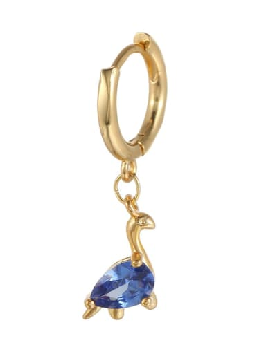 Dark blue dinosaur (Single) Brass Cubic Zirconia Multi Color Irregular Minimalist Single Earring