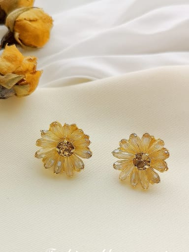 Copper imitation  Crystal Flower Dainty Stud Earring