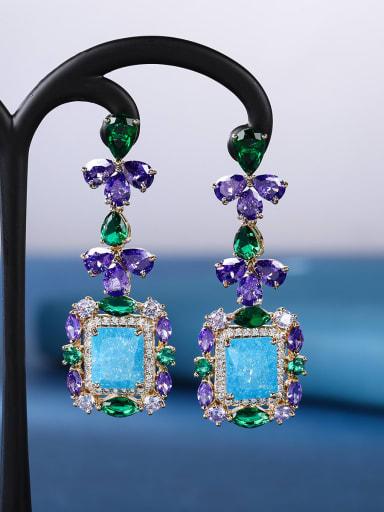 Sea blue Brass Cubic Zirconia Geometric Luxury Drop Earring