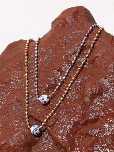 Brass Ceramic Round Hip Hop Beaded Chain Necklace