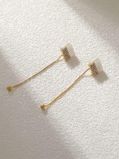 Brass Cats Eye Geometric Minimalist Threader Earring