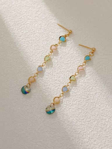 14k gold Brass Cubic Zirconia Tassel Minimalist Threader Earring