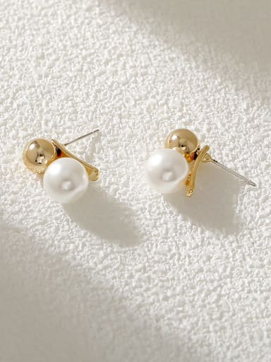 Brass Imitation Pearl Geometric Minimalist Threader Earring