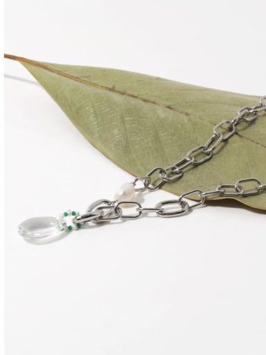 Brass Crystal Water Drop Vintage Necklace