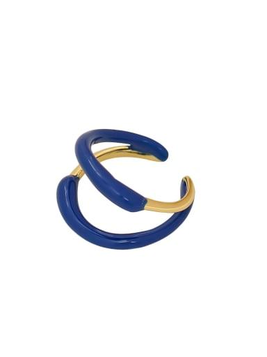 Brass Enamel Geometric Minimalist Stackable Ring