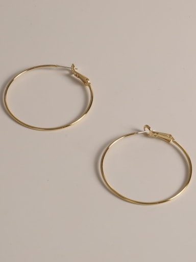 14K real gold Brass Round Minimalist Hoop Earring