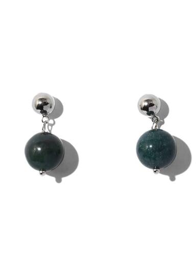 Platinum Brass Emerald Geometric Ethnic Stud Earring