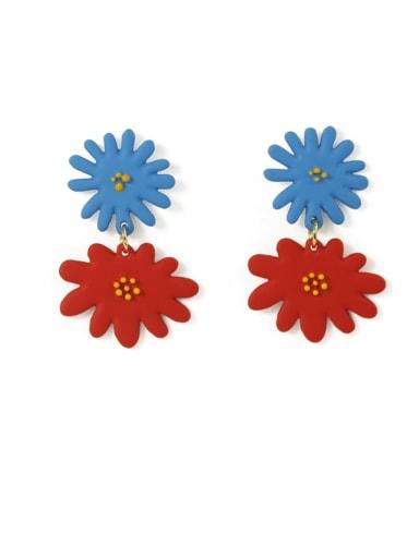 Alloy Enamel Flower Cute Drop Earring