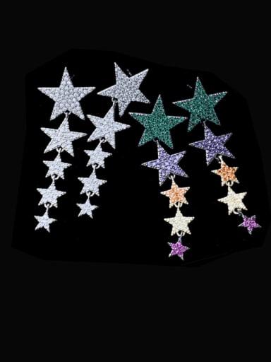 Brass Cubic Zirconia Star Statement Cluster Earring