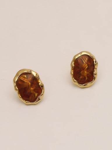 Orange red Brass Glass Stone Geometric Ethnic Stud Earring