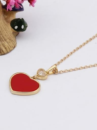 red Brass Shell Heart Minimalist Necklace