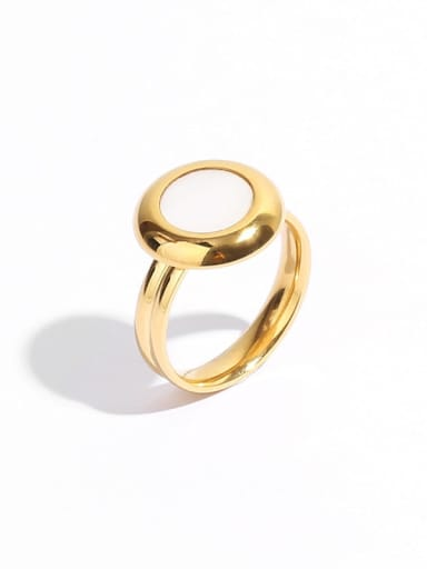 Brass Shell Round Vintage Band Ring