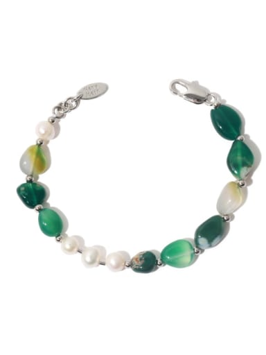 Brass Freshwater Pearl Irregular Vintage Beaded Bracelet
