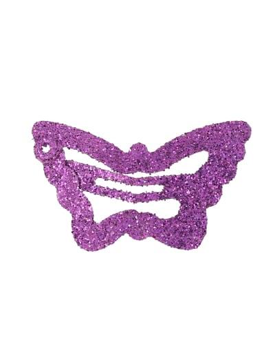 violet(1 Pack = 100 Pcs) Alloy Multi Color Cute Butterfly  Hair Barrette