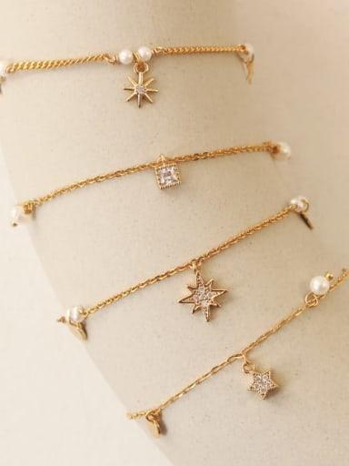 Brass Cubic Zirconia Star Minimalist Link Bracelet