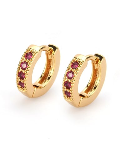 Gold Plated Red zircon Brass Cubic Zirconia Round Minimalist Hoop Earring