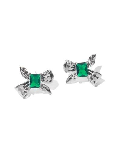 Green Zircon Brass Cubic Zirconia Bowknot Minimalist Stud Earring