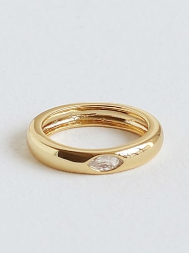 Brass Cubic Zirconia Geometric Vintage Midi Ring
