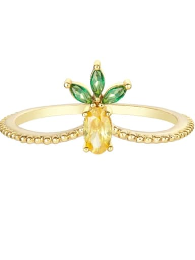 pineapple Brass Cubic Zirconia Multi Color Friut Cute Band Ring