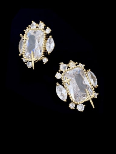 golden Brass Cubic Zirconia Geometric Statement Stud Earring