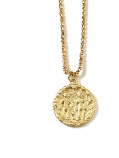 Gemini Brass coin Minimalist Twelve constellations Pendant Necklace
