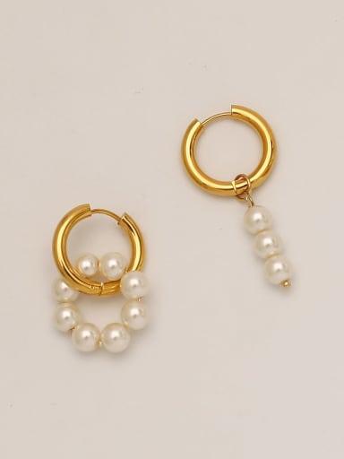Brass Imitation Pearl Asymmetry Geometric Vintage Drop Earring